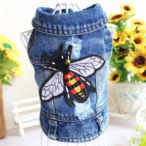 Wholesale Pets series Fashion clothes bee Embroidered jeans Teddy Bichon Bulldog habiliment dog clothing Four legged garment New product zca k1