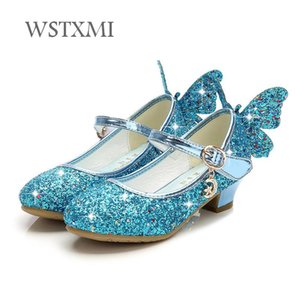 Wholesale Children Princess Shoes for Girls High Heel Sandals Kids Glitter Leathers Butterfly Party Dress Wedding Dance Sparkly Fashion