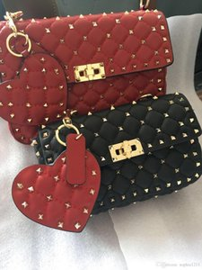 Wholesale Factory sheepskin leather Chain Shoulder women Bag Messenger rivets bag Flap Soft Camera Bag Black Red Nude Blue Color With Key