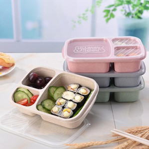 Wholesale Wheat Straw Bento Box lunch box grid Student Portable Food Storage Boxes outdoor camping snack fruit Lunch Box LX6653