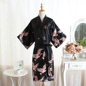 Wholesale Sexy Black Ladies Satin Nightgown Sleepwear Chinese Women Robe Dress Gown Vintage Kimono Yukata Lounge Nightwear Pajama