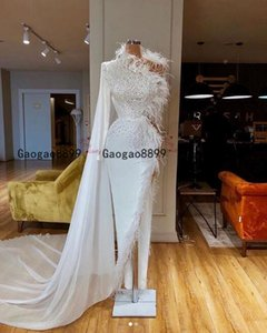 Wholesale 2020 Sexy one shoulder sheath Evening Dresses Long sleeves with beaded feather design gorgeous high split Formal Prom Party Gowns