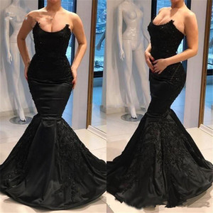 2019 Fashion Black Satin Memaid Sexy Lace Sleeveless Evening Formal Dress Party Prom Dresses Vestidos De Novia on Sale