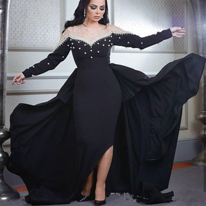 Black Long Sleeve Saudi Arabic Formal Evening Dresses Illusion O-Neck Pearls Elegant Evening Gowns Sheath Prom Dresses on Sale