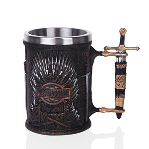 Wholesale Drop Shipping Hot Sale GAME OF THRONES IRON THRONE TANKARD ML Stainless Steel Resin Cups Skull Mug Beer Stein Cool Gift
