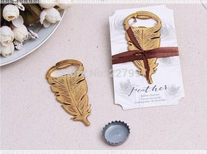 Wholesale DHL Wedding favors baby shower gift gold metal Peacock feather wine Bottle opener