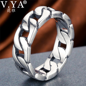 V.ya 100% 925 Sterling Silver Ring Punk Ring Cycle Chain Finger Rings For Men Fine Jewelry Big Size Couple Ring Men Jewelry SH190726