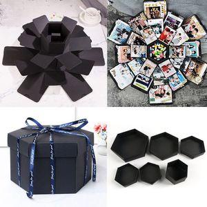 NEW Hexagon Surprise Explosion Box DIY Scrapbook Photo Album For Valentine Wedding Birthday Party Gift For Girlfriend Surprise