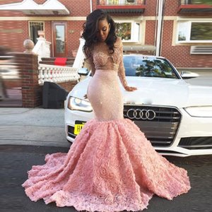 Wholesale Robe de Soiree African Luxury Mermaid Prom Dresses Sexy Sheer Lace Crystal Rose Ruffles Pink Long Evening Party Dress