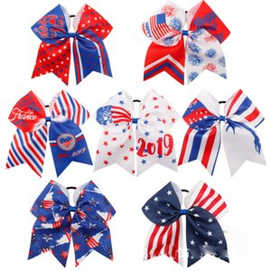 Wholesale 4th of July Cheer Bow Patriotic Glitter Elastic Hair Ties Cheerleader Bow With Ponytail Holder For Girl Cheerleader FJ366