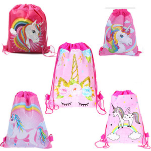 New Cartoon Unicorn Drawstring Bags Non-woven Backpack Children Shoulder storage Bags Girl Birthday Gift Backpacks Free Shipping