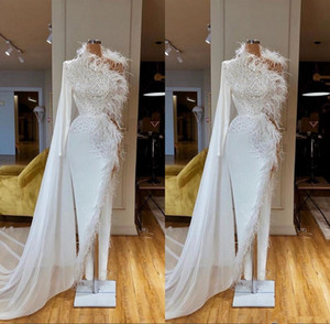 Beaded Long Sleeve White Mermaid Evening Dresses 2020 High Split Feather Formal Prom Gowns robe de soiree Abendkleider on Sale