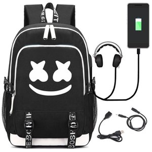 2019 American Mystery Dj Marshmello School Bag Trendy Usb Laptop Backpack For Girls Boys Teenagers Children Cool Bookbag Escolar J190521