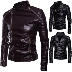 Wholesale Trend Men's 2019 Autumn and Winter New European and American Style Men's Diagonal Pull Leather Lapel Motorcycle Leather Jacket Wholesale