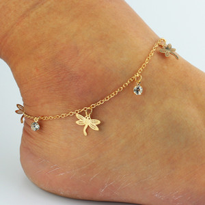 Wholesale Top Fashion Bohemian Ankle Bracelets Butterfly Dragonfly Leaf Shell Rose Anklets Women Foot Chain Barefoot Sandals Beach Designer Jewelry