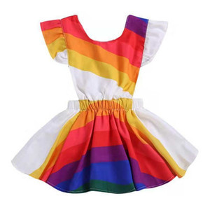 Wholesale rainbows dresses for sale - Group buy Vieeoease Girls Dress Rainbow Kids Clothing Spring Fashion Fly Sleeve Cute Print Princess Party Dress CC