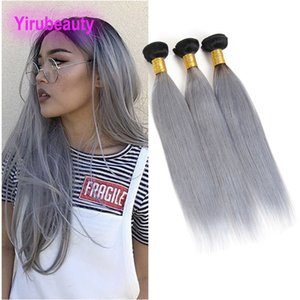 Wholesale greying hair resale online - Brazilian Virgin Hair B grey Bundles Straight Human Hair B Grey Double Wefts inch Pieces Hair Wefts