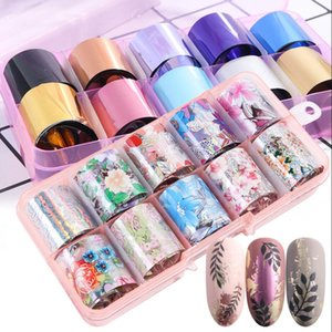 Wholesale Nail Art Foil Sticker Set Laser Star Floral Design Transfer Paper Nails Decal Tips Nail Art Decorations
