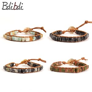 Wholesale Balibali Warp SQUARE Beaded Cuff Bracelets Women Dice Shape Semi precioous Stone Beads Men Bracelets Fashion Hand Gift Jewelry