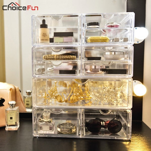 Wholesale Choice Fun Home Desk Transparent Makeup Box Organizing Organizadores Plastic Make Up Acrylic Drawers Cosmetics Makeup Organizers Y19062803