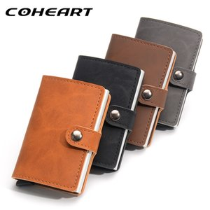 COHEART Automatic Card Wallet Top Quality Leather Wallet Men Women Unisex Metal business card box metal Card purse PU small !!