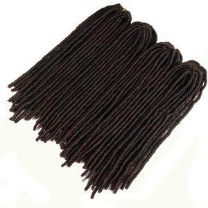 Synthetic Braiding Dreadlocks Hair Extensions Heat Resistant Fiber Straight Goddess Faux Locs Ombre Brown Black Color Crochet Braid Hair