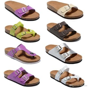 Wholesale 2019 Colorful HOT Brand Arizona Men Flat Heel Sandals Women Fashion Summer Beaches Casual Shoes With Buckle Genuine Leather shoes