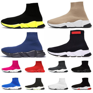 Wholesale Top Fashion Designer Sneakers Speed Trainer Platform Casual Socks Shoes Cheap New Yellow Black Red Brown Navy Blue Men Women Sock Boots