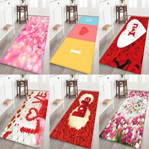 Wholesale Valentine s Day LOVE Flower pattern thick flannel carpet Rug Non Slip Backing Soft Floor Mat for Home Hotel Living Room Bedroom