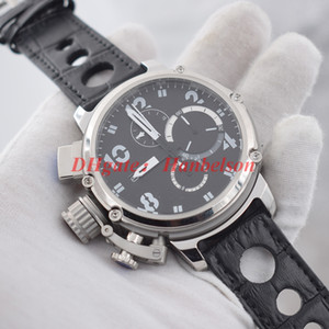 Wholesale crown battery resale online - NEW mens watches Luxusuhr Japan Quartz movement Chronograph Left crown montre de luxe Large dial black leather strap Wristwatches