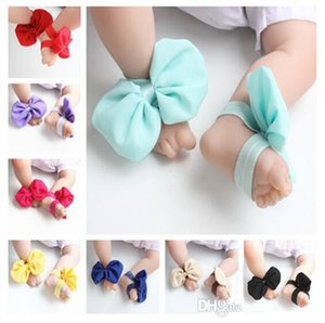 Wholesale New Baby Sandals Bowknot Shoes Cover Barefoot Foot Chiffon Bow Ties Infant Girl Kids First Walker Shoes Photography Props Colors A164