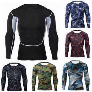 Wholesale Men Sports T shirts Camouflage Printed Fitness Running Tight Tops Long Sleeve Cycling Jersey Breathable Quick Dry Gym Clothing