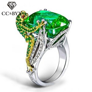 Wholesale CC Rings For Women Creative Ring Gold Chameleon Lizard Green Cubic Zirconia Luxury Jewelry Accessories Drop Shipping CC2325