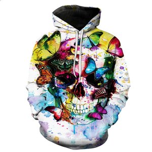 Skulls Hoodies Hot Red Hooded 20 Style Sweatshirts Kiss Streetwear Style Pullover Plus Size Sportswear 3D Tracksuits on Sale