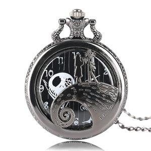 Wholesale ightmare before The Nightmare Before Christmas Jack Skellington Tim Burton Movie Kid Toys Watches Fashion Black Quarzt Pocket Watch Gifts