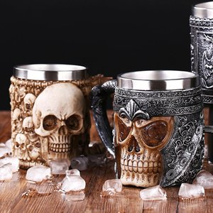 Wholesale Stainless Steel Resin Retro Dragon Beer Mug Skull Knight Tankard Halloween Coffee Cup Lifelike Viking Mug Pub Bar Decoration