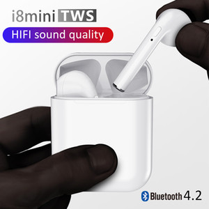 Wholesale I8 Mini TWS Earbuds i8mini Wireless Bluetooth Sport Twins Earphones Stereo Music With Charging Box Headphones For IOS Android Phone