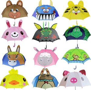 Lovely Cartoon Kids Umbrella Creative Long Handle Umbrellas 3D Modelling Sunny Rainy Bumbershoot Frog Rabbit Princess For Children Gifts on Sale