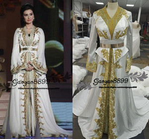 Wholesale Moroccan Caftan Kaftan Dubai Abaya Arabic Long Sleeve Evening Dresses real Amazing Gold Embroidery Two pieces gorgeous Prom Formal Gowns