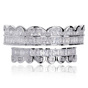 Wholesale white gold grills for sale - Group buy New Baguette Set Teeth Grillz Top Bottom Silver Color Grills Dental Mouth Hip Hop Fashion Jewelry Rapper Jewelry