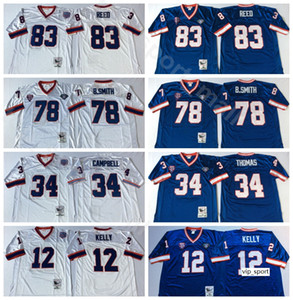 ingrosso blu kelly-NCAAA Football Jim Kelly Thurman Thomas Jerseys Bruce Smith Ander Reed Team Blue Bianco uomo vintage punto