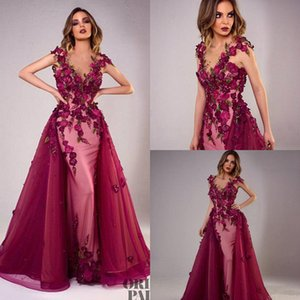 Wholesale New Tony Chaaya Evening Dresses With Detachable Train Burgundy Beads Mermaid Prom Gowns Lace Applique Sleeveless Luxury Party Dress