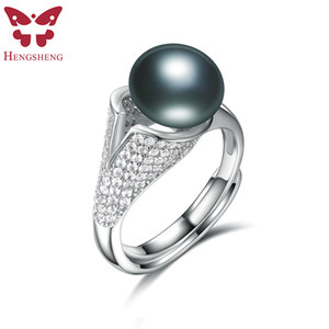 Wholesale Real Natural Black For Women Fashion Jewelry mm Big Natural Freshwater Pearl With Zircon Ring Style to Chose