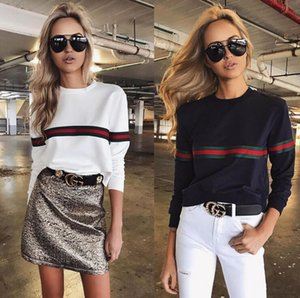 Wholesale Fashion Striped Women s T Shirt Red Green Belt Women s Hoodie Long Sleeve Spring Winter Tops Tee