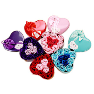Heart Shape Box Rose Soap Flower Mother's Day Handmade Soap Flowers Romantic Valentines Day Birthday Wedding Party Gifts Flower DH1283
