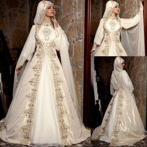 2020 Vintage Arabic Muslim Wedding Dresses With Long Sleeves High Neck Gold Embroidery Beads Luxury Bridal Ball Gown With Cloak