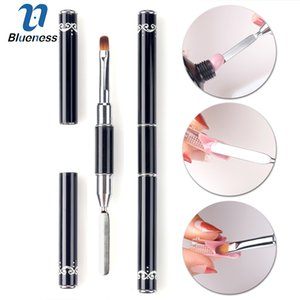 Wholesale Brushes Blueness Dual use Small Nail Brush Dotting Painting Pen Nail Art Cuticle Pusher Remover Manicure Nails Tools