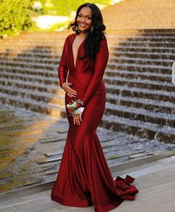 Wholesale Wine Red Prom Gowns With Full Sleeves V-neck Evening Long Party Dress For Women Vestidos De Cerimonia