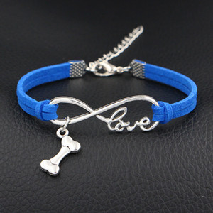 Wholesale 2018 women men boho Infinity Love Dog Bone Sign Pendant charm bracelet bangles dark blue leather rope arm wrap cuff jewelry pulseiras hot