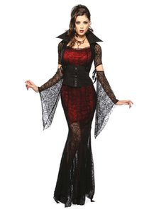 Dark Queen Cosplay Costume Spider Black Vampire Dress Halloween Costume Adult Party Stage Cosplay Clothing 2019new